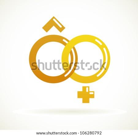 Wedding icon  - golden rings