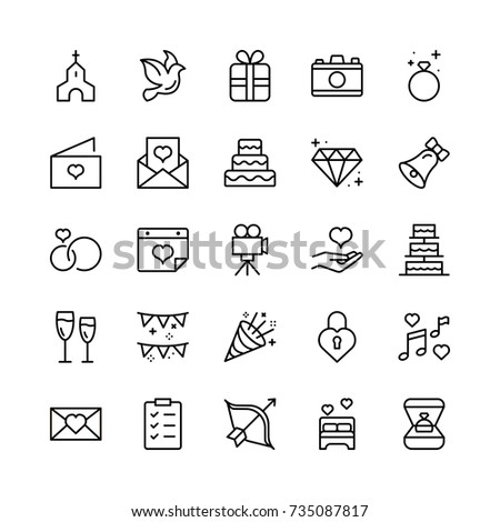 Wedding icon set. Collection of high quality outline wedding invitation pictograms in modern flat style. Bride and groom black symbol for web design and mobile app on white background. Cake line logo.