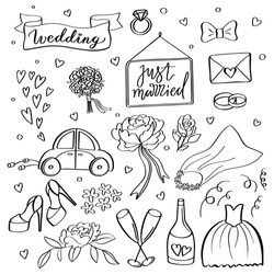 Wedding icons. Hand sketched vector wedding symbols bride, groom, couple, love, rings, honeymoon, celebration