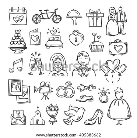 Wedding icons. Hand sketched vector wedding symbols: bride, groom, couple, love, rings, honeymoon, celebration #405383662