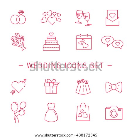 Wedding Icons. Outline Vector Wedding Icon.  Wedding Icons Set
