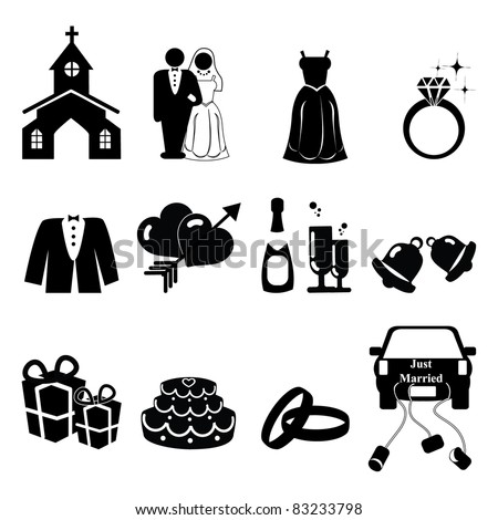 stock vector Wedding icons silhouette