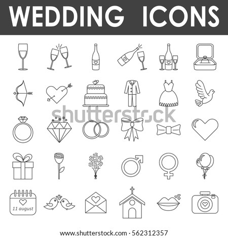 Wedding icons, simple and thin line design