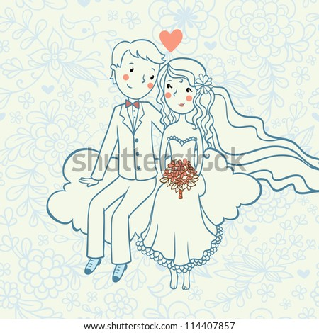 Wedding invitation.Background with a boy and a girl sitting on a cloud.