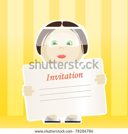 stock vector Wedding invitation Bride holding the card for your text