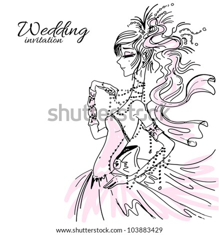 Wedding invitation, bride in pink