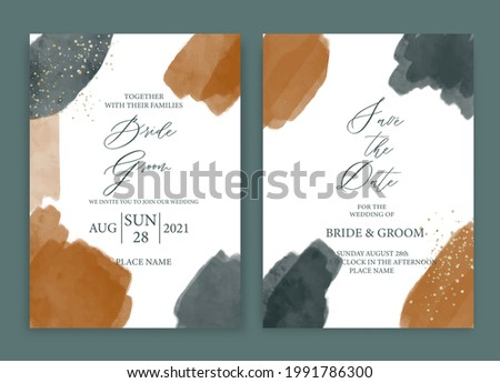 Wedding invitation card abstract watercolor style collection design, watercolor texture background, brochure, invitation template