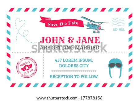 Wedding Invitation Card Airplane Theme in vector