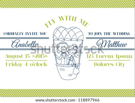 Wedding Invitation Card - Balloon Theme - in vector