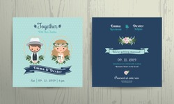Wedding invitation card beach theme cartoon bride and groom portrait on wood background