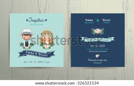 Wedding invitation card beach theme cartoon bride and groom portrait on wood background #326321534