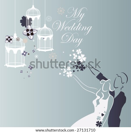 stock vector wedding invitation card design