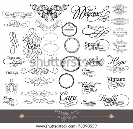 wedding invitation card design- elements collection