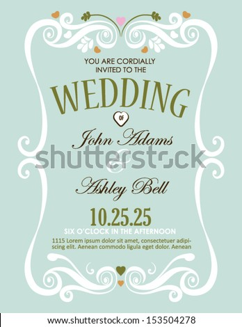 Wedding Invitation Card Design in Vector with Border