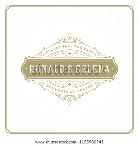 Wedding invitation card design template vector illustration. Wedding save the date title vintage typographic badge. #1155980941