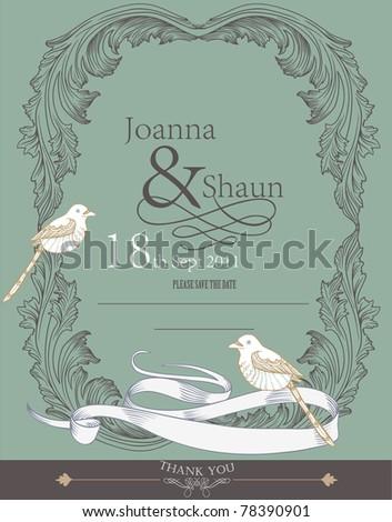 wedding invitation card design- vintage card
