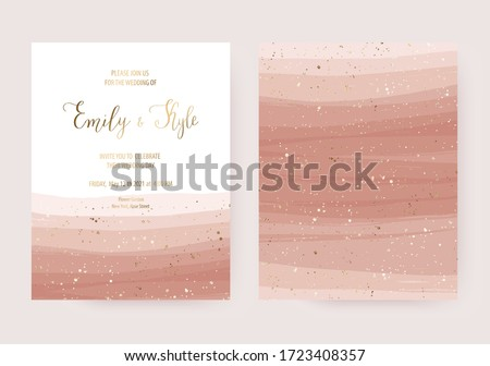 Wedding invitation card design with gold dust and opacity rose stripes.