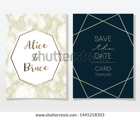Wedding Invitation card design with golden frames and marble texture. Luxury marble with gold geometric frame design template. #1445258303