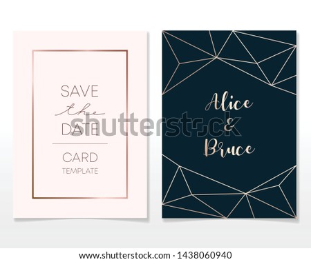 Wedding Invitation card design with golden frames and marble texture. Luxury marble with rose gold geometric frame design template. #1438060940