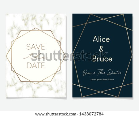 Wedding Invitation card design with golden frames and marble texture. Luxury marble with rose gold geometric frame design template. #1438072784
