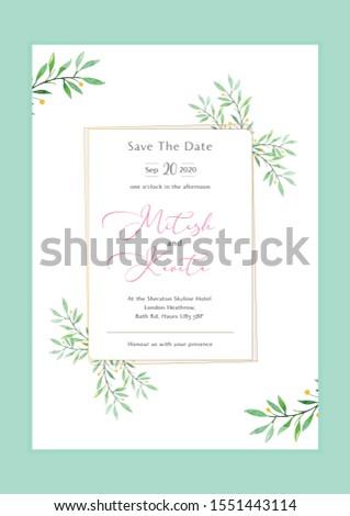 Wedding Invitation Card. Engagement Invitation Card. Invitation Card. Save the date Card. Water color flower and leaves design.