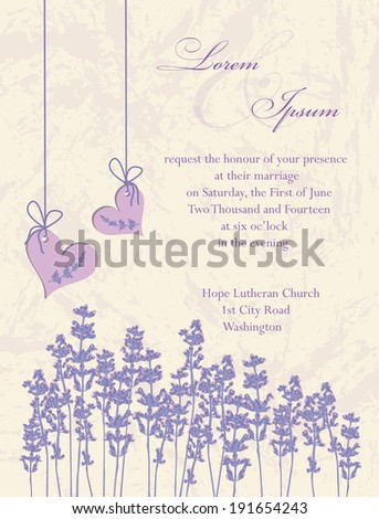 Wedding invitation card flyer design packaging design Lavender background product labels Vector illustration
