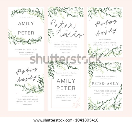 Wedding invitation card vector download free vector art stock wedding invitation card green set stopboris Image collections