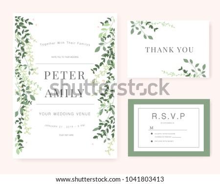 Rustic wedding invitation design template include rsvp card sa wedding invitation card green set stopboris Image collections