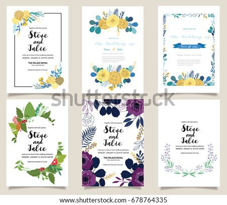 Floral invitation background download free vector art stock wedding invitation card illustration set flower vector hand draw design collection stopboris Image collections