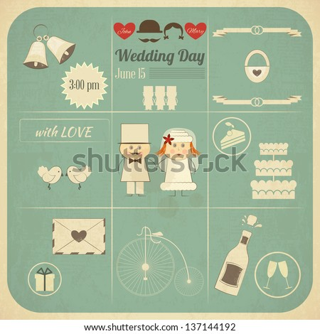 Wedding Invitation Card in Retro Infographics Style. Vintage Design, Square Format, Wedding Set. Vector Illustration.