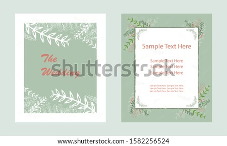 Wedding invitation card. Invitation card with leaf ornaments, beautiful, luxury postcards. Designed for wedding card. Vector illustration. Greeting cards.