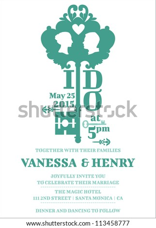 Wedding Invitation Card - Key Theme - in vector - stock vector