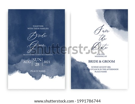 Wedding invitation card navy blue watercolor style collection design, watercolor texture background, brochure, invitation template