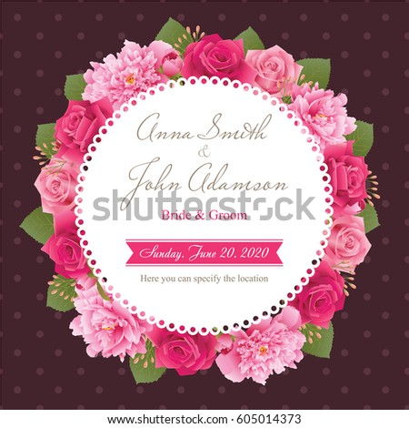 Wedding invitation card, save the date card, greeting card. Wedding card or invitation with peonies and roses background. Flower frame. All elements are isolated and editable. EPS 10