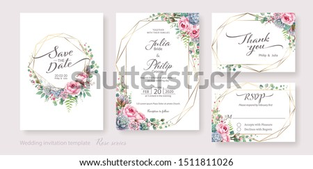 Wedding Invitation card, save the date, thank you, rsvp template. Vector. White and pink rose flower, silver dollar plant, Wax flower.
