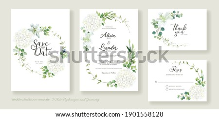 Wedding Invitation card, save the date, thank you, rsvp template. Vector. White lily, Hydrangea with greenery flower.