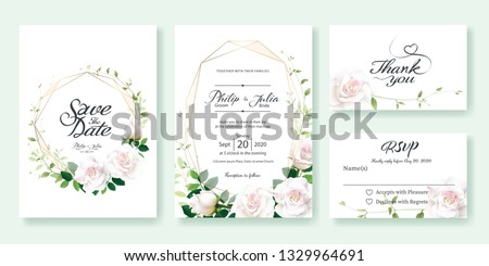 Wedding Invitation card, save the date, thank you, rsvp template. Vector. White rose flower, lemon leaf, Ivy leaves. #1329964691