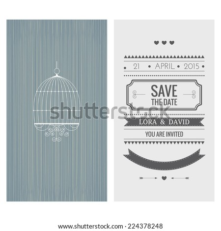 Wedding invitation card Save the date Vector illustration