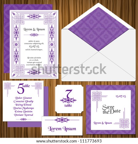 Wedding Invitation Card Set Classic Style Invitation