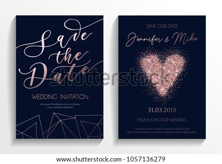 Wedding invitation card set. Modern design template with rose gold glitter heart and lettering. Elegance wedding invitation with geometric elements. Vector illustration.