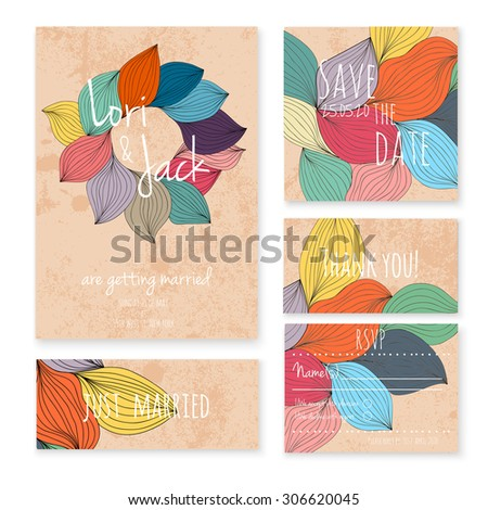 Wedding invitation card set. Thank you, save the date, RSVP, just married. - stock vector