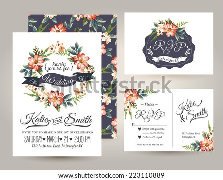 Shutterstock wedding invitation card suite with daisy flower Templates