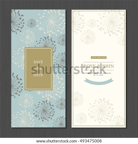 wedding invitation card suite with flower Templates.  save the date cards. flower vertical banners concept vector design.