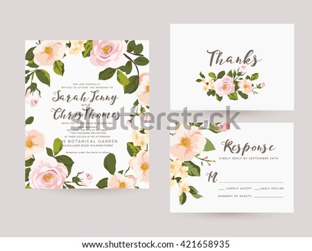 wedding invitation card suite with romantic light flower Templates