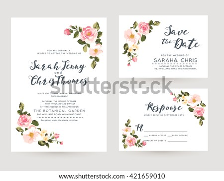 wedding invitation card suite with tiny romantic floral Templates