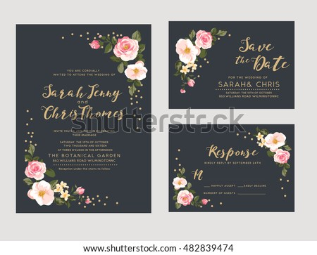 wedding invitation card suite with tiny romantic flower Templates