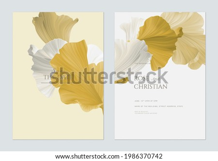 Wedding invitation card template design, abstract shapes in golden theme