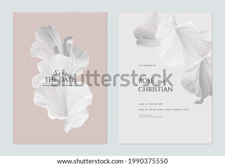 Wedding invitation card template design, abstract shapes in grey theme