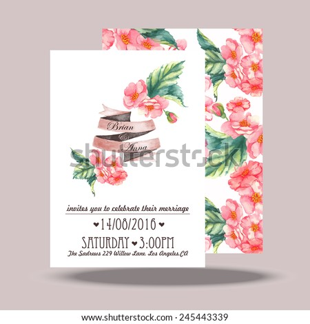 Wedding invitation card template. Hand drawn watercolor design with tender pink flowers and leaves