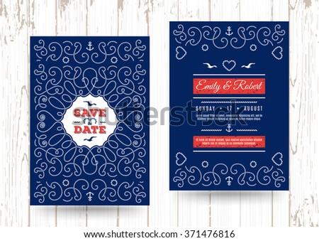wedding invitation card template marine vector nautical save the date cards elegant frame